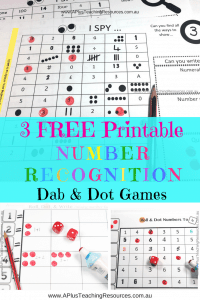 3 Free Printable Number Recognition Games