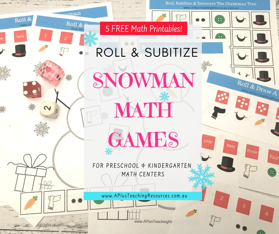 Snowman math game Freebie